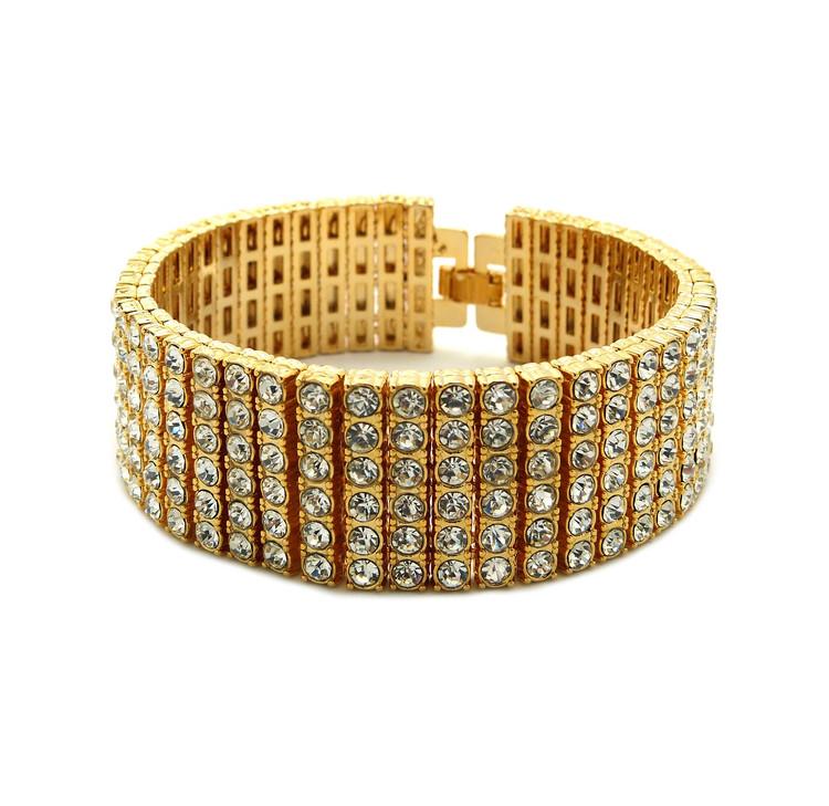 Iced Out 6 Row Pharaoh Diamond Cz Bling Bracelet 14k Gold