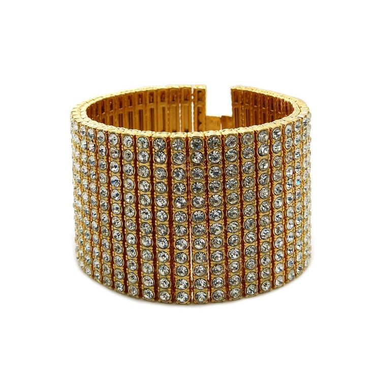 Mens 14k Gold Hip Hop 600 Stone Diamond Cz Bling Bracelet