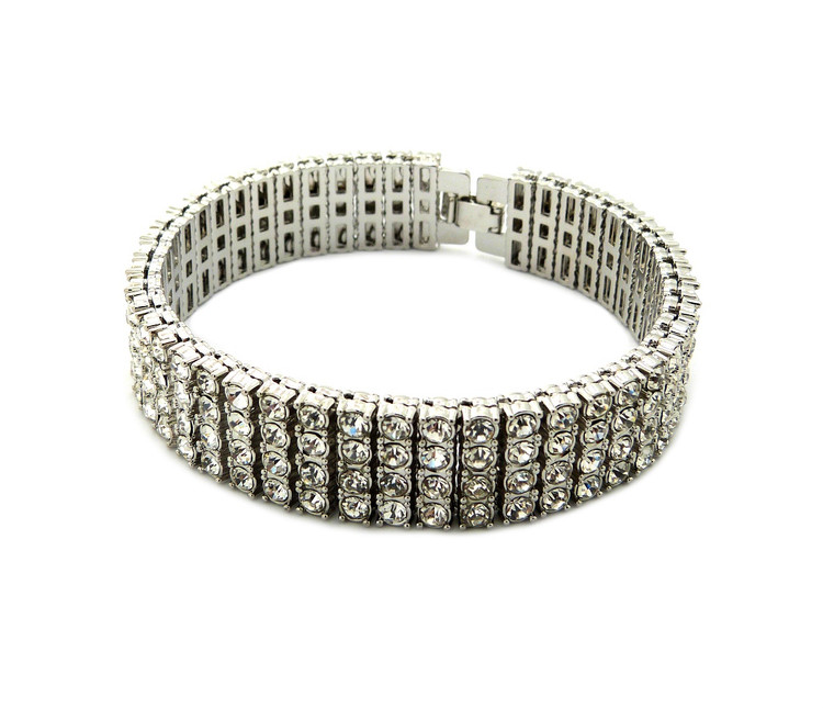 925 Silver Iced Out 4 Row Pharaoh Diamond Cz Bling Bracelet