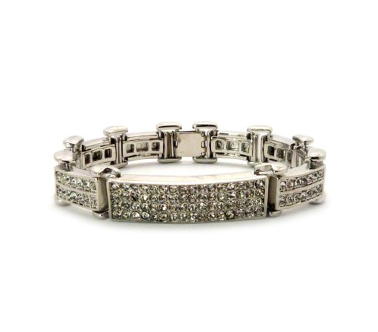 Mens 925 Sterling Silver ID Style Diamond Cz Hip Hop Bracelet