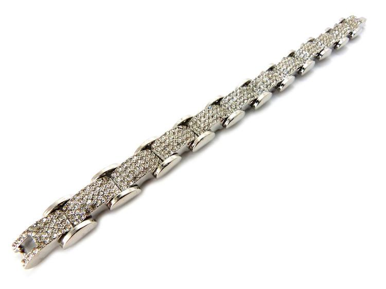 Iced Out Diamond Cz Premium Stone Bracelet 925 Silver