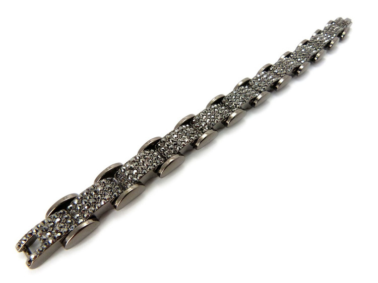 Iced Out Simulated Diamond Premium Stone Bracelet Black