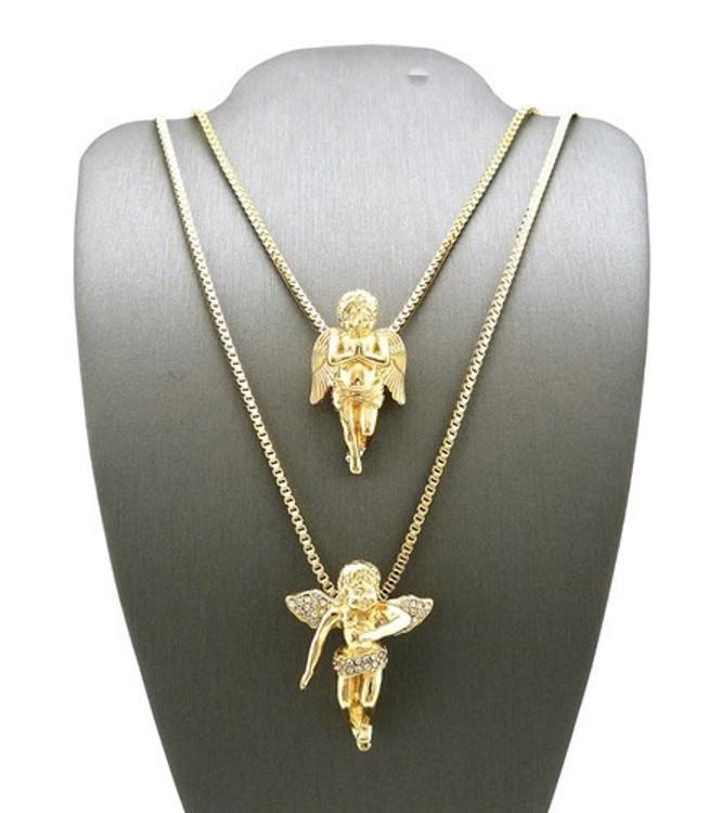 14k Gold Micro Winged Cherub Guardian Angel Pendant Set