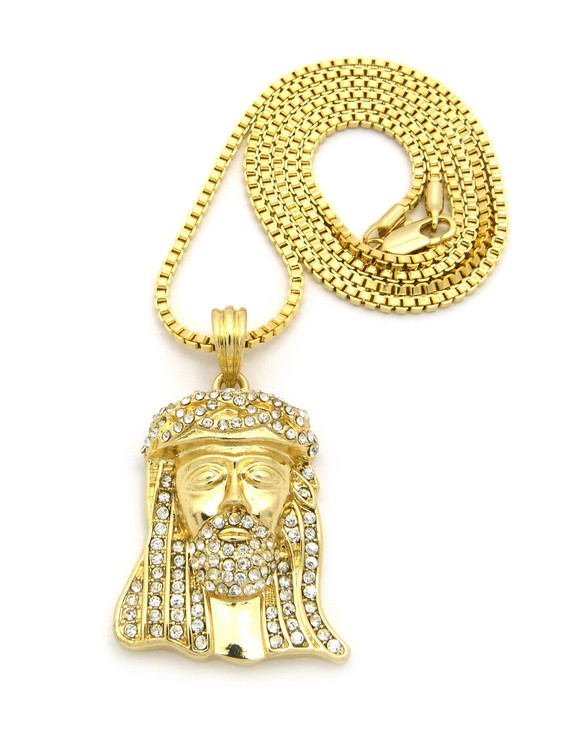 Small Micro Iced Out Crown Jesus Pendant Box Chain Gold