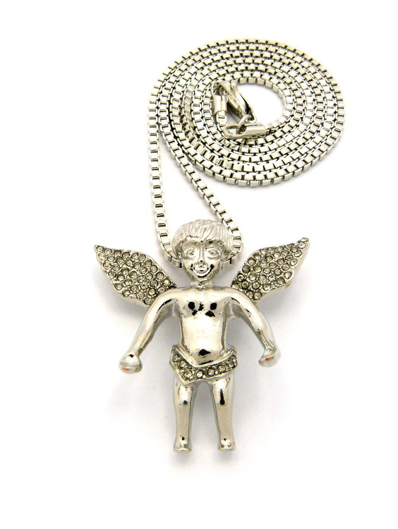 Micro Small Cz Smiling Angel Cherub Pendant Box Chain Silver