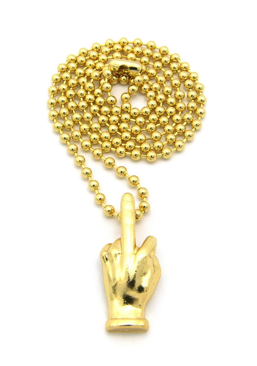 Middle Finger Hip Hop Hand Pendant w / Ball Chain