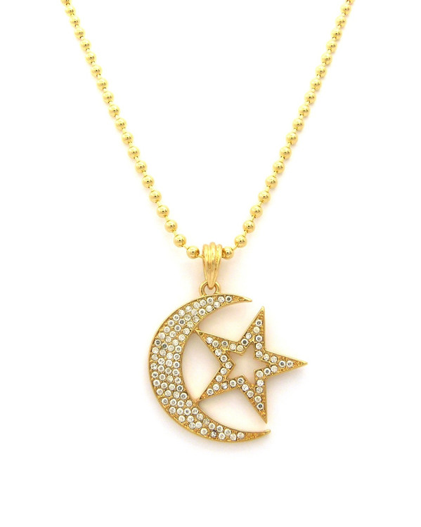 Star and Crescent Cz Hip Hop Pendant w/ Ball Link Chain