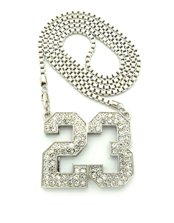 Iced Out 23 Hip Hop Pendant Box Link Chain Silver