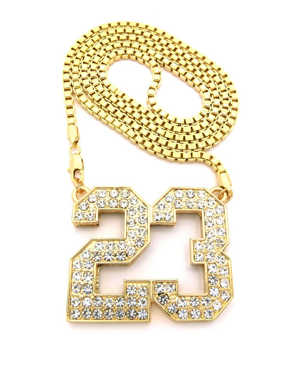 Iced Out 23 Hip Hop Pendant Box Link Chain Gold