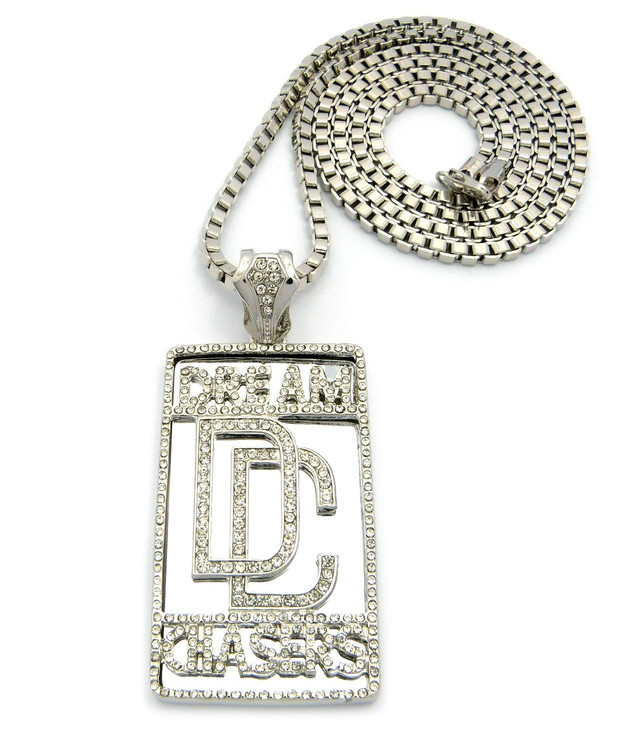 Hip Hop Dream Chasers Iced Out Pendant 36 Inch Box Chain Silver
