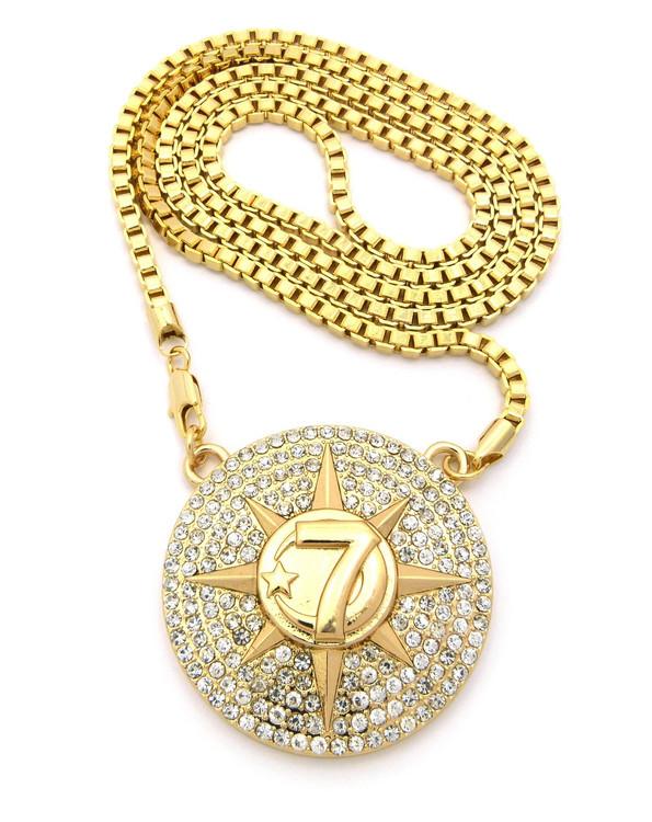 Hip Hop 7 Star Allah Chain Pendant Gold