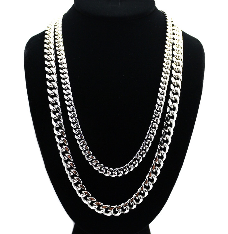 8mm 24 and 10mm 30 Inch Miami Cuban Link Chain Set 925 Silver