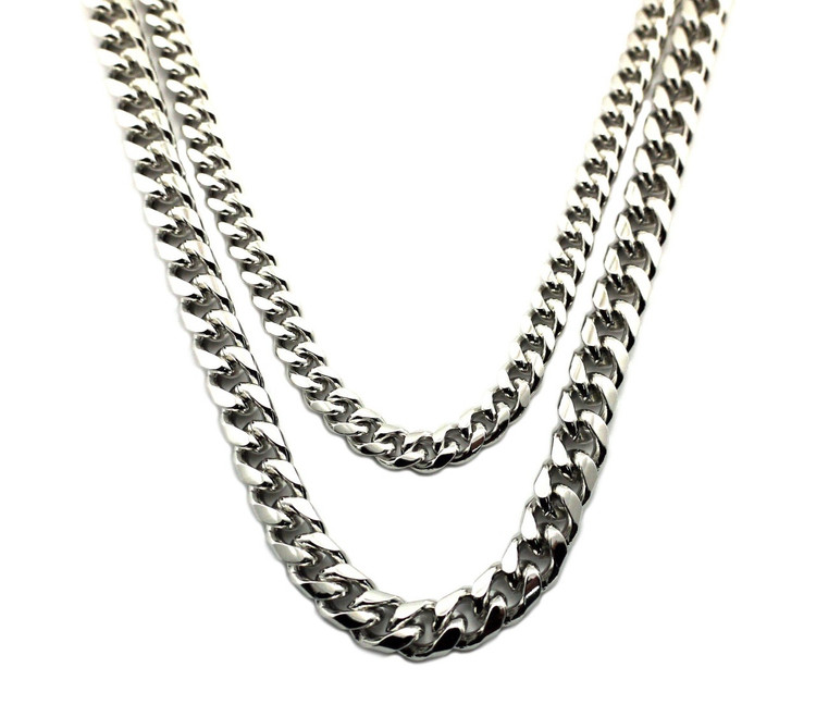 "Hip Hop 2 Chainz Style 30"" 36"" Miami Cuban Chain Silver Set"