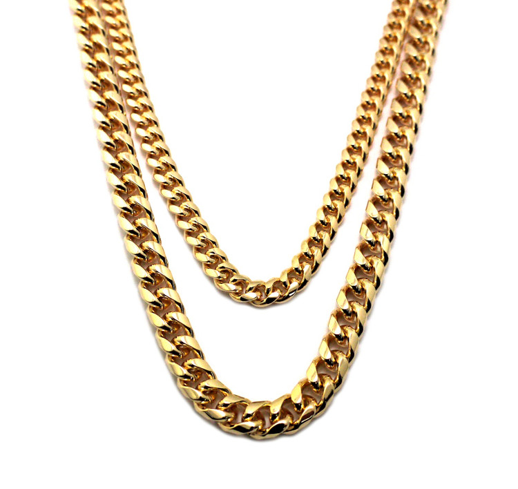 "Hip Hop 2 Chainz Style 30"" 36"" Miami Cuban Chain Gold Set"