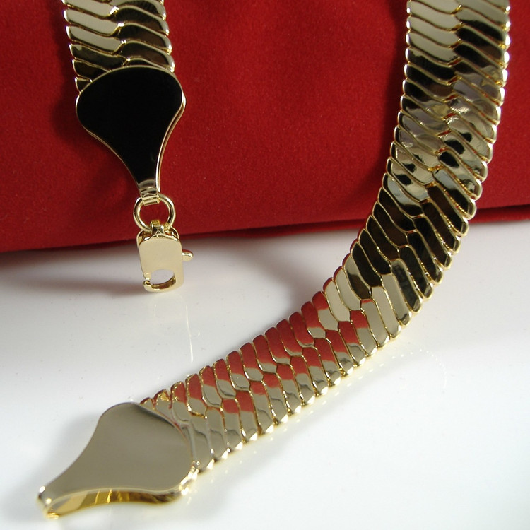 14K Gold Thick Cut Hip Hop Herringbone Chain Necklace