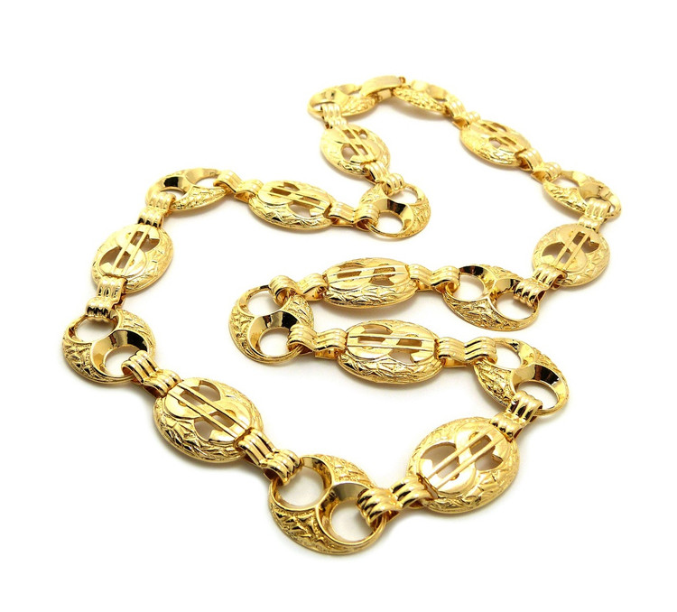 Hip Hop Dollar Sign Cash Money Bling Chain Necklace
