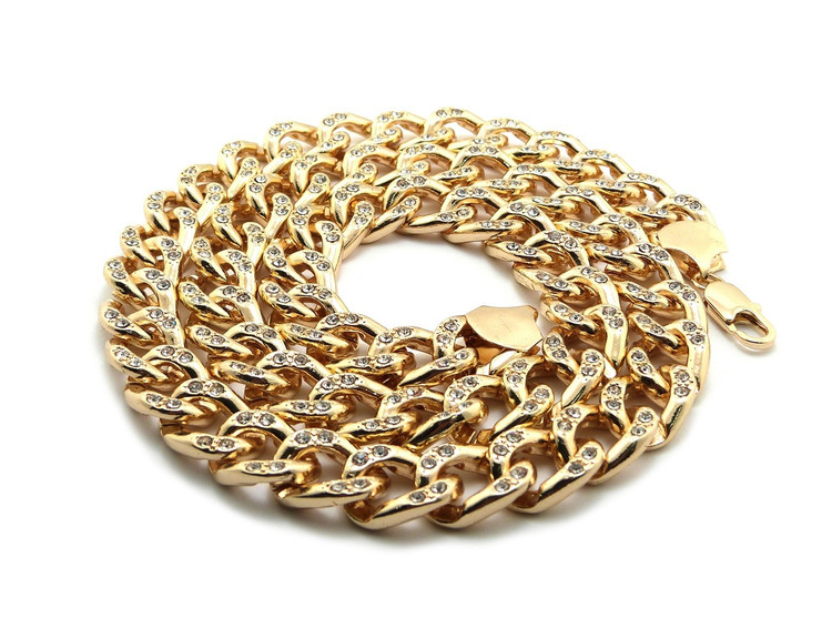 """Mens Hip Hop 30"""" Cz Stone Cuban Link Chains Necklace Gold"""
