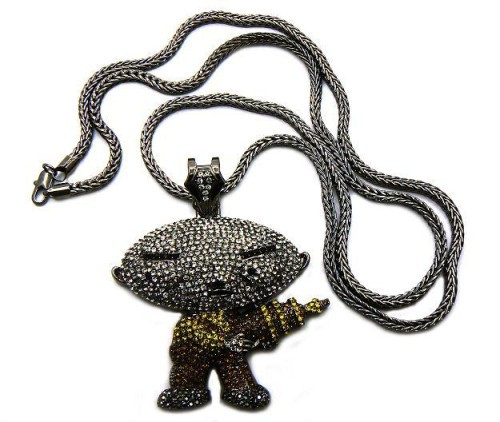 Black hematite diamond cz iced out stewie bling pendant bling jewelz aloadofball