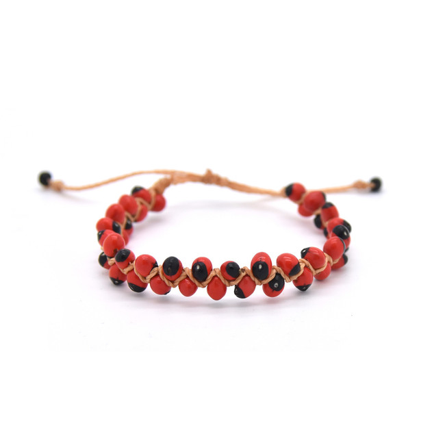 Huayruro Seed Bracelet - Red and Black, Even Pattern