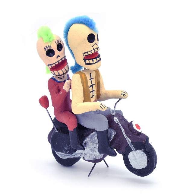 Day of the Dead Mohawk Motorcycle Couple Figure