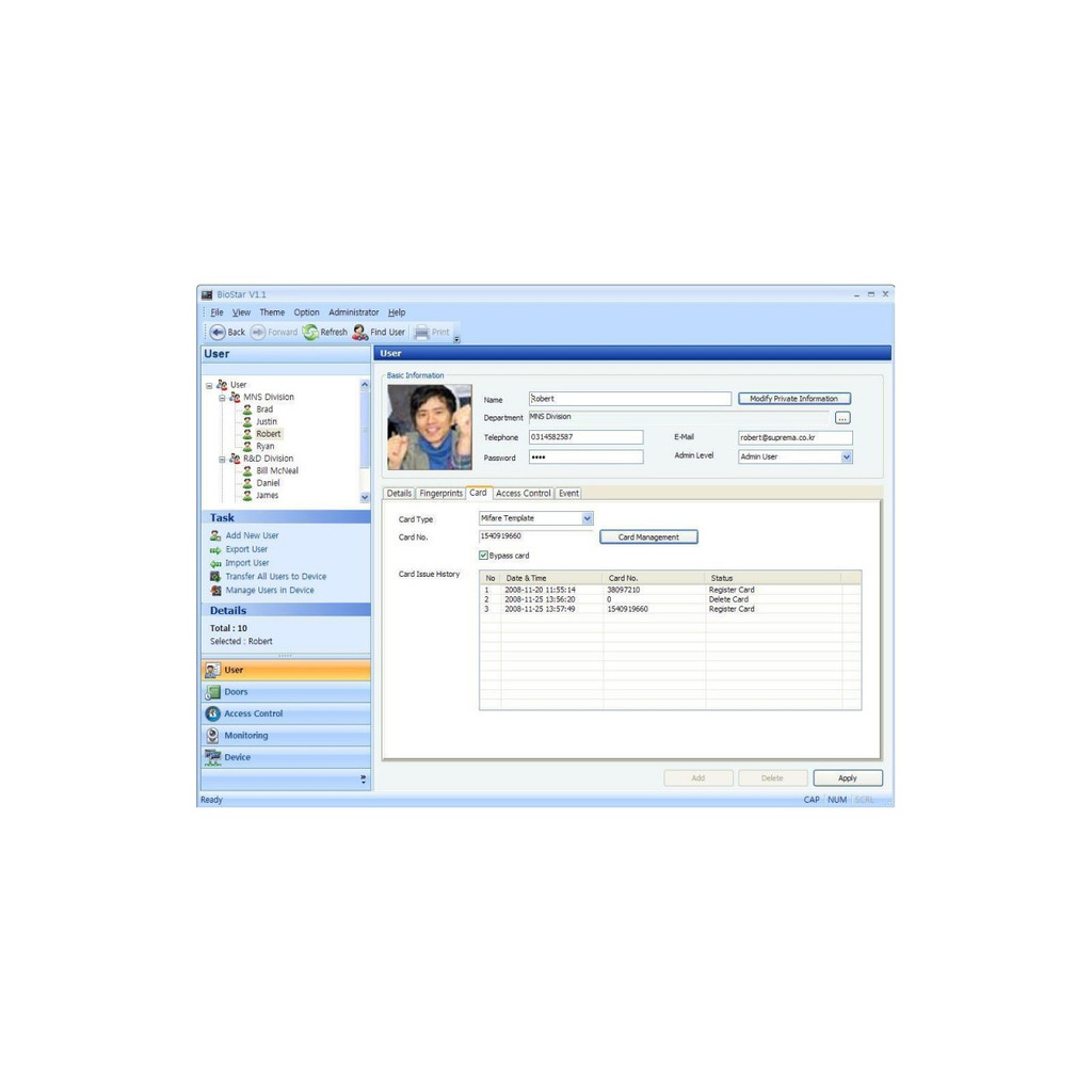 Suprema BioStar User Management