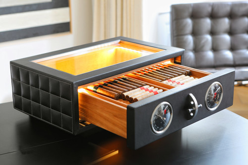 Superbe ... Dottling Tabletop Cigar Humidor   Black Calfskin ...
