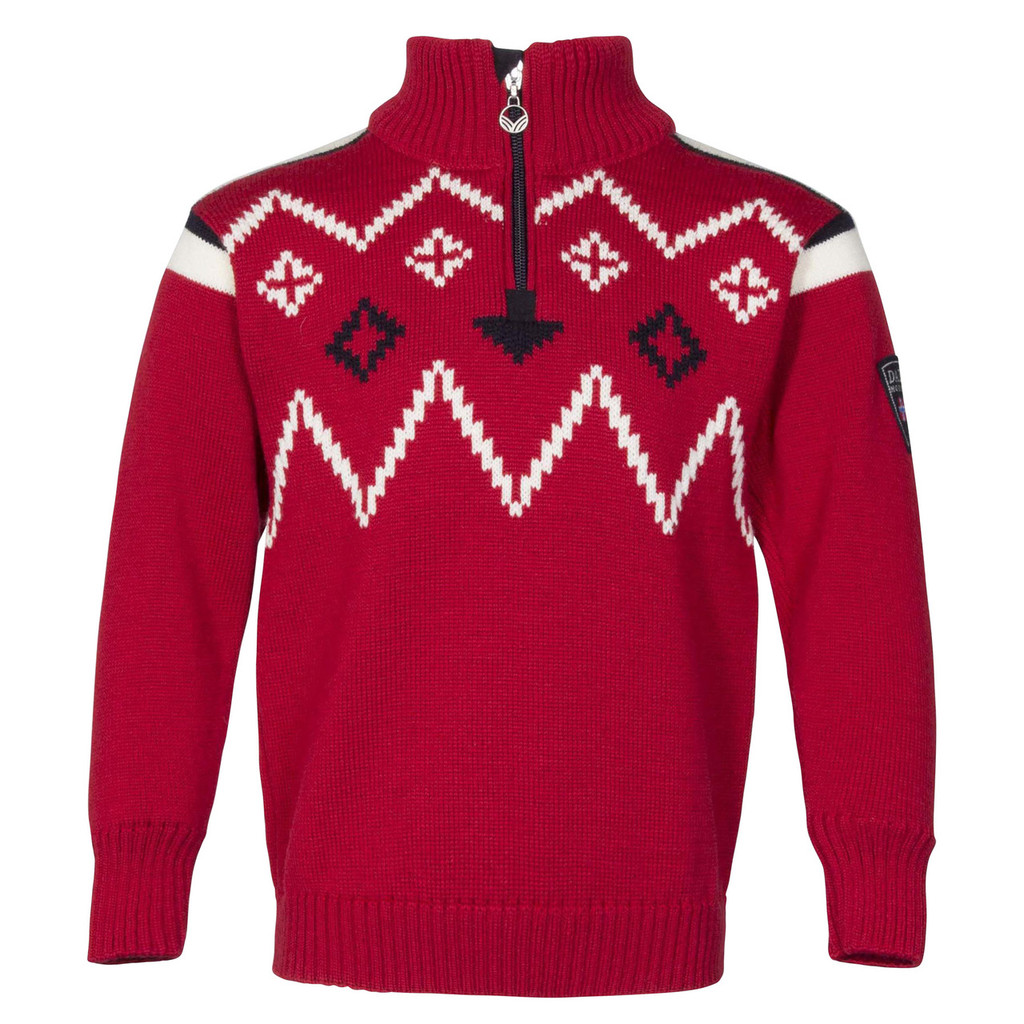 Dale of Norway Seefeld Pullover, Kids - Raspberry/Navy/Off White, 93651-B
