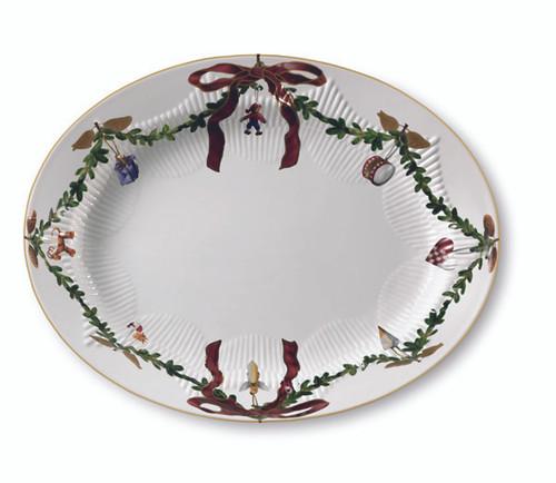"Royal Copenhagen Star Fluted Christmas Serving Platter - Oval, 14.25"""