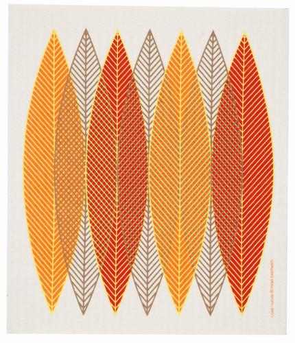 Swedish Dishcloth - Blade Leaves, Orange