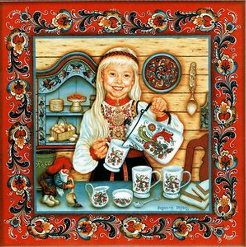 Suzanne Toftey Tile - Egg Coffee Girl