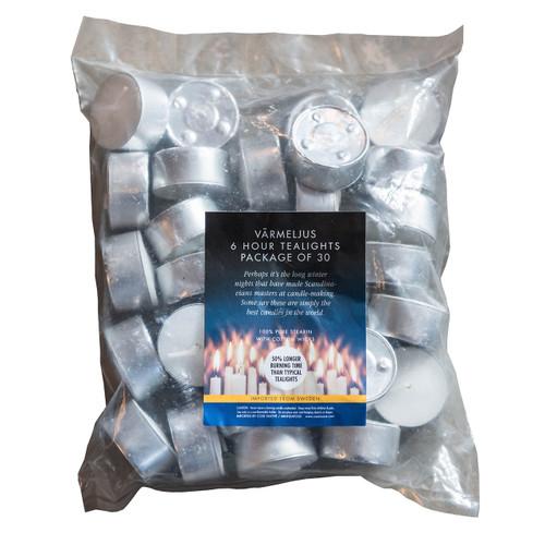 Swedish Stearin Tealight Candles, Bag of 30