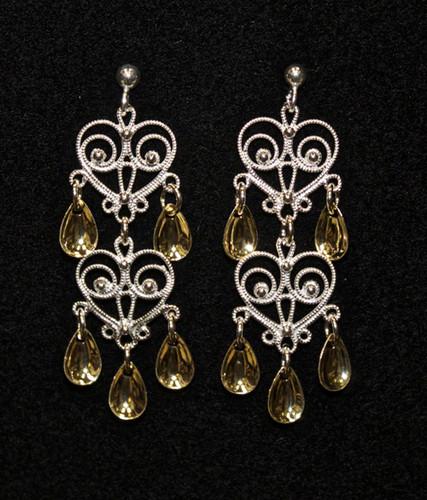 Solje of Norway Double Heart - Five Tears- Earrings
