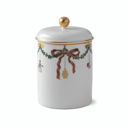 "Royal Copenhagen Star Fluted Christmas Jar with Lid, 6.7"""