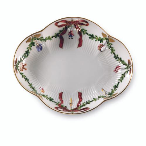 "Royal Copenhagen Star Fluted Christmas Oblong Dish, 8.5"""