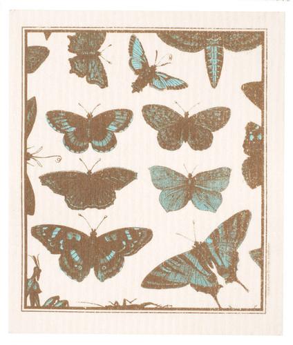 Swedish Dishcloth - Butterflies, Aqua