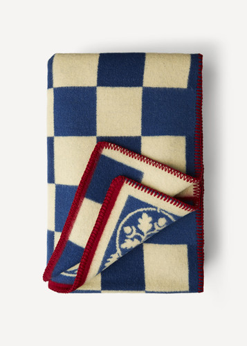 Carola Oleana Blanket with Squares and Floral Pattern, 201B Blue