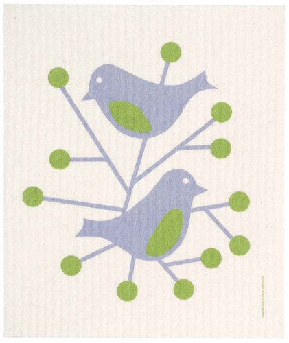 Swedish Dishcloth - Birds, Blue