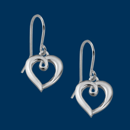 Danish Silversmiths Looped Heart Earrings