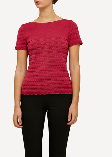Molly Oleana Short Sleeve Top with Lace Pattern, 309A Red/Pink