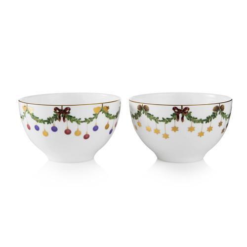 Royal Copenhagen Star Fluted Christmas 2-Pack Chocolate Bowls