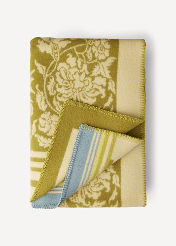 Hanna Oleana Blanket with Floral Pattern and Accent Stripes, 203G Green
