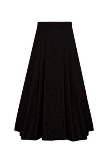 Oleana Full Length Pleated Silk Skirt with Pockets, 74
