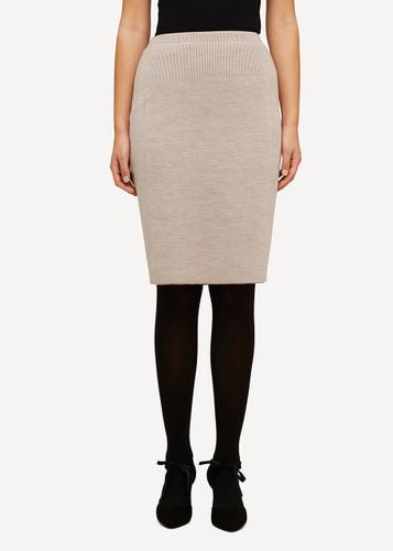 Ester Oleana Short Knitted Skirt, 321B Beige