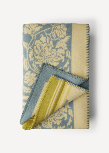 Hanna Oleana Blanket with Floral Pattern and Accent Stripes, 203F Light Blue