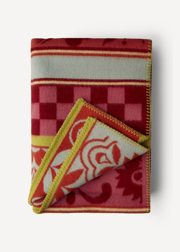 Amelie Oleana Blanket with Spanish Checks and Florals, 207R Red