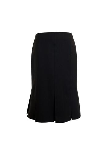 Julie Oleana Wool Skirt with Pleated Hem, 72O Black
