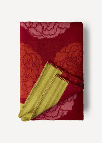 Inge Oleana Blanket with Large Roses, 204D Red