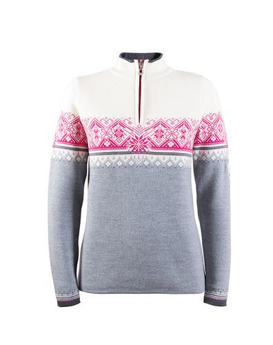 Dale of Norway, St. Moritz ladies pullover in Grey Mel/Schiefer/Off White/Allium, 91461-T
