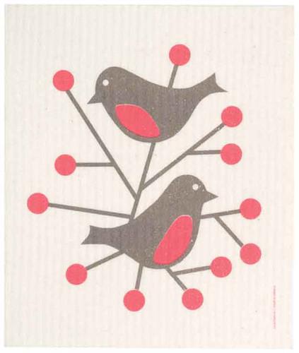 Swedish Dishcloth - Birds, Red