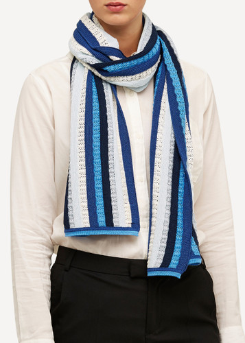 Else Oleana Striped Shawl, 323FQ Cobalt Blue